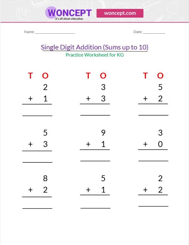 Single Digit Addition Worksheet For Kindergarten Woncept